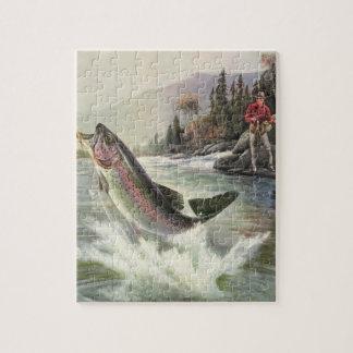 Pesca del pescador de los pescados de la trucha rompecabeza con fotos