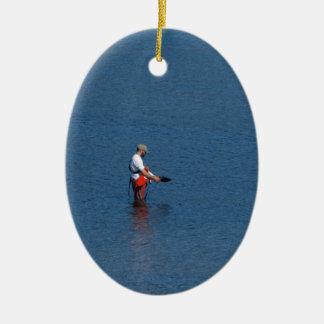 Pesca del pescador ornamento de navidad