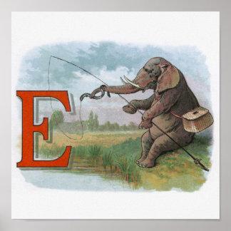 Pesca del pescador del elefante del vintage posters
