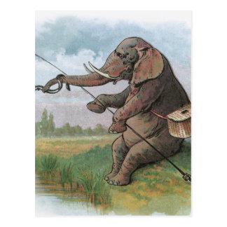 Pesca del pescador del elefante del vintage postal