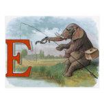 Pesca del pescador del elefante del vintage tarjeta postal