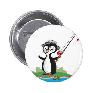 Pesca del pingüino pin redondo de 2 pulgadas