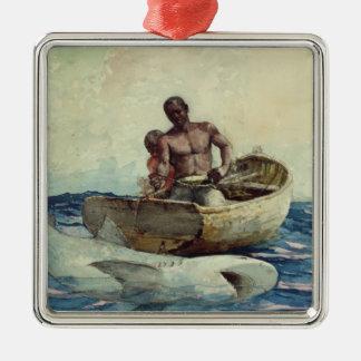 Pesca del tiburón, 1885 adorno navideño cuadrado de metal