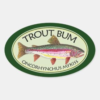 Pesca del vago de la trucha pegatina ovalada