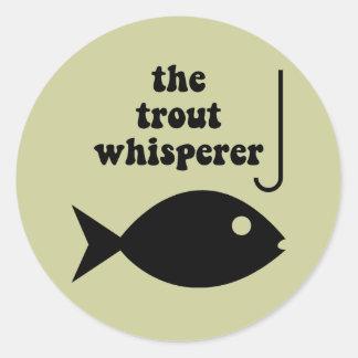 pesca del whisperer de la trucha pegatina redonda