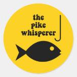 pesca del whisperer del lucio pegatinas redondas