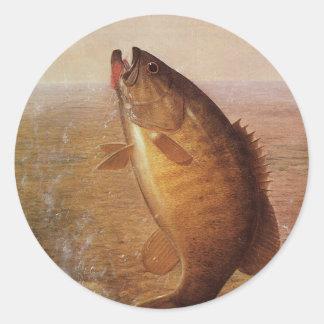 Pesca deportiva del vintage, lago bocazas bass de pegatinas redondas
