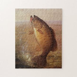 Pesca deportiva del vintage, lago bocazas bass de rompecabeza con fotos
