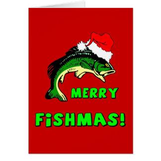Pesca divertida del navidad tarjeta de felicitación