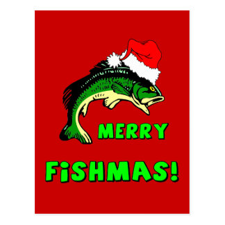 Pesca divertida del navidad tarjetas postales