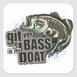 Pesca divertida pegatinas cuadradas personalizadas