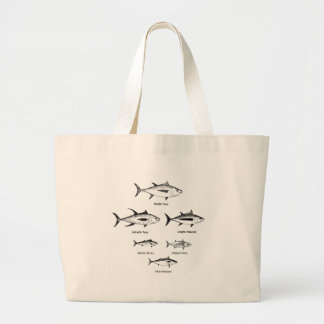 Pesca en alta mar - logotipo del atún bolsa tela grande