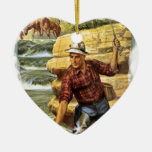 Pesca en el banco del río ornamentos de navidad