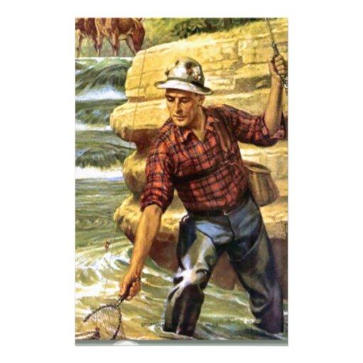 Pesca en el banco del río papelería de diseño