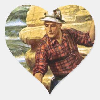 Pesca en el banco del río pegatina en forma de corazón