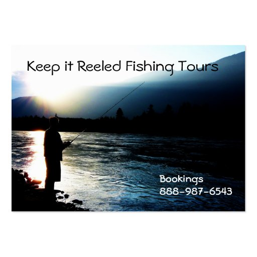Pesca en el río en la silueta de la puesta del sol tarjeta de visita