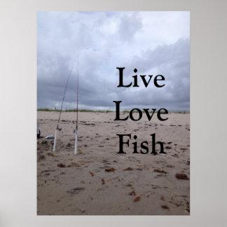Pesca en la playa. Pescados vivos del amor Póster