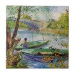 Pesca en la primavera, bella arte de Van Gogh del  Azulejos Cerámicos