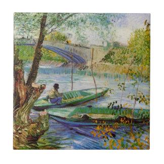 Pesca en la primavera, bella arte de Van Gogh del Azulejo Cuadrado Pequeño