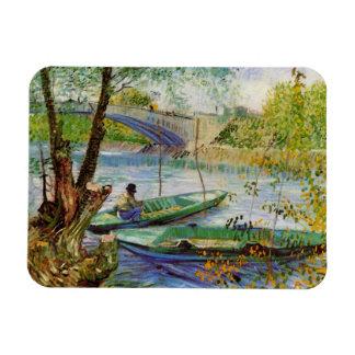 Pesca en la primavera, bella arte de Van Gogh del Iman