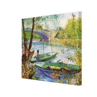 Pesca en la primavera, bella arte de Van Gogh del Lienzo Envuelto Para Galerias