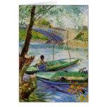 Pesca en la primavera, bella arte de Van Gogh del  Tarjetas