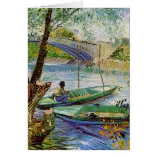 Pesca en la primavera, bella arte de Van Gogh del Tarjeta De Felicitación