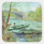 Pesca en la primavera. Pont de Clichy, 1887 Pegatina Cuadrada