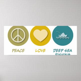 Pesca en mar profunda del amor de la paz impresiones