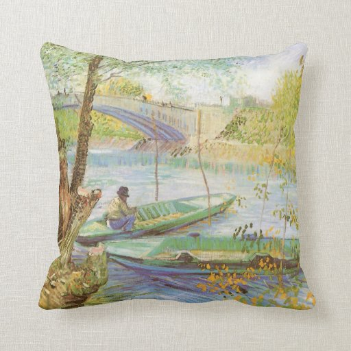 Pesca en primavera de Vincent van Gogh Cojín Decorativo