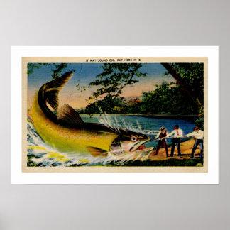 Pesca exagerada vintage divertido póster
