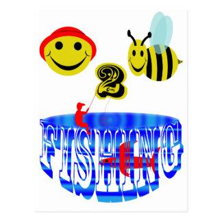 pesca feliz de 2 abejas. tarjetas postales