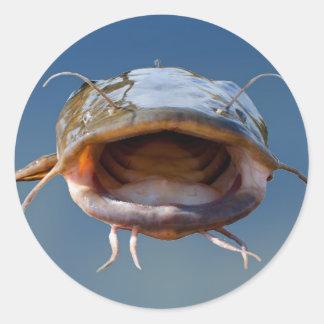 Pesca grande de la boca pegatina redonda