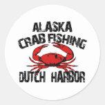 Pesca holandesa del cangrejo de Alaska del puerto Pegatina Redonda