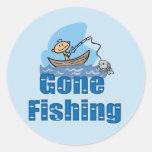 Pesca ida etiqueta redonda