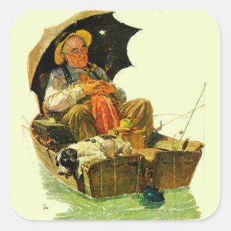 Pesca ida pegatina cuadrada