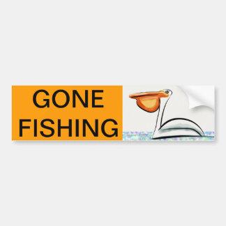 Pesca ida - pelícano pegatina para auto