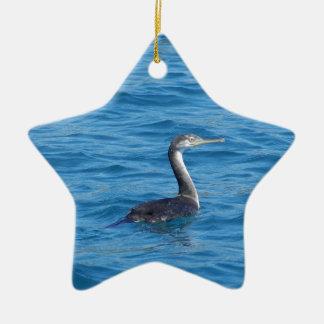 Pesca juvenil de la pelusa adorno navideño de cerámica en forma de estrella