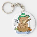 Pesca linda del oso en barco llaveros personalizados