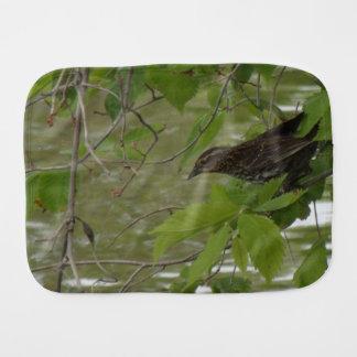 pesca negra de alas rojas del pájaro de una rama paños para bebé