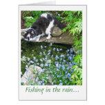 Pesca nombrada gato de Gandalf en la lluvia…. Tarjetón