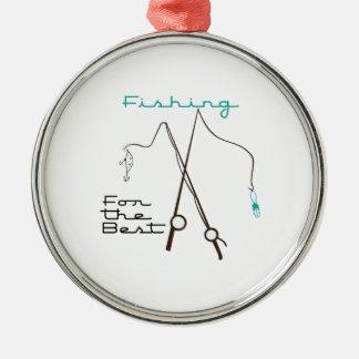 Pesca para el mejor adorno redondo plateado