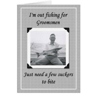 Pesca para los padrinos de boda felicitación