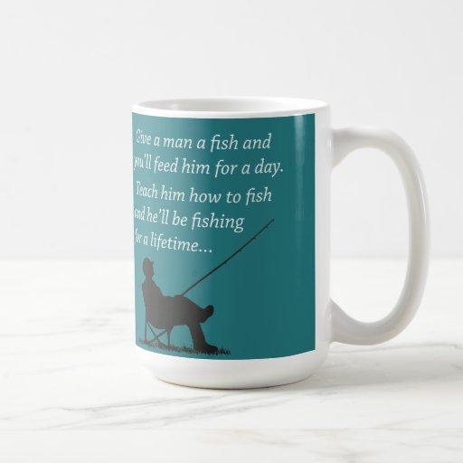 Pesca para un curso de la vida taza de café
