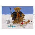 Pesca pequeña del hielo de los osos tarjeton