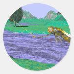 Pesca, pesca con mosca, insectos pegatina redonda