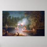 Pesca por la luz de antorchas posters