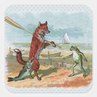 pesca que va del vintage del zorro y de la rana pegatina cuadradas