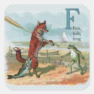 pesca que va del vintage del zorro y de la rana pegatina cuadrada