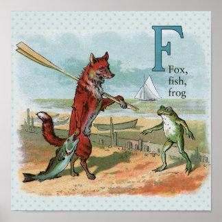pesca que va del vintage del zorro y de la rana póster